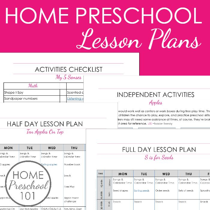 Printable Home Preschool Lesson Plans