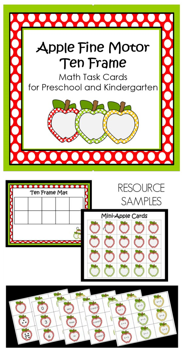 Apple Ten Frame Task Cards-Use these with apple manipulatives or the printabe ten frame mat that is included to practice counting, number word recognition, combinations, and addition