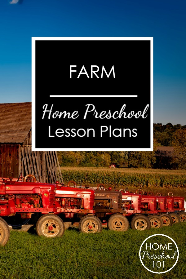 Farm Theme Home Preschool Lesson Plans from Home Preschool 101-This 64-page pack includes an entire week of hands-on learning ideas and printable lesson plans, printable resources and more.