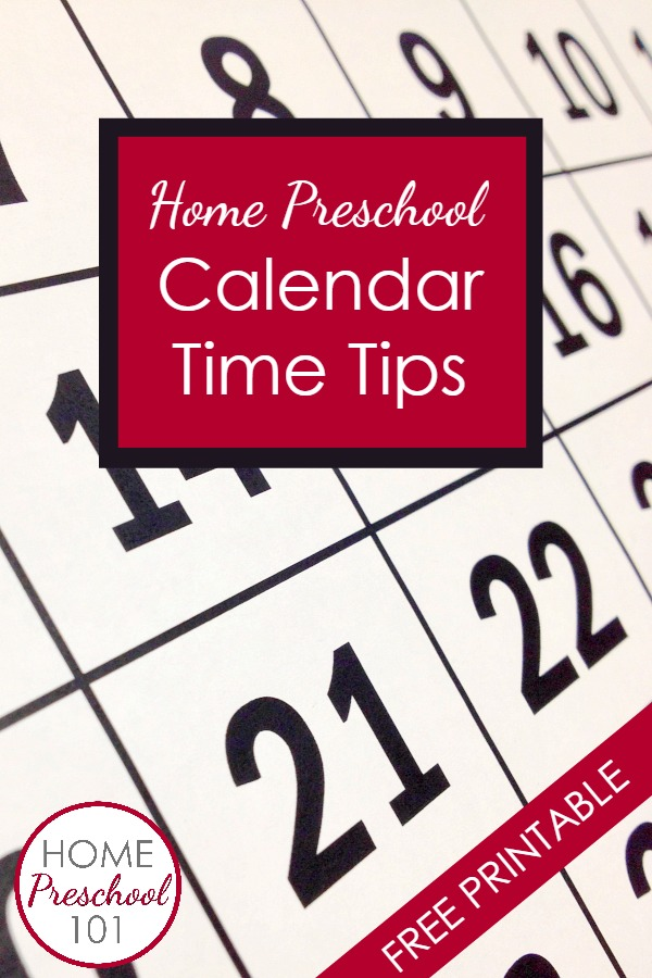 Home Preschool Calendar Tips-learn about the goals of preschool calendar time and tips for doing calendar time together. Includes free editable calendar time planning sheet
