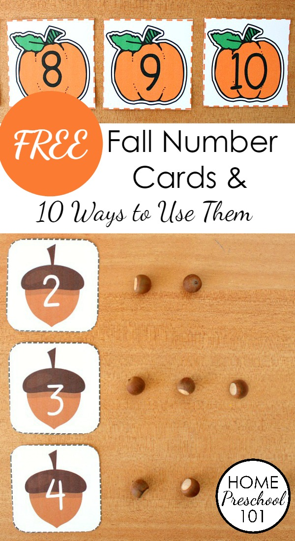 photo relating to Apples to Apples Cards Printable referred to as Free of charge Printable Tumble Amount Playing cards - House Preschool 101