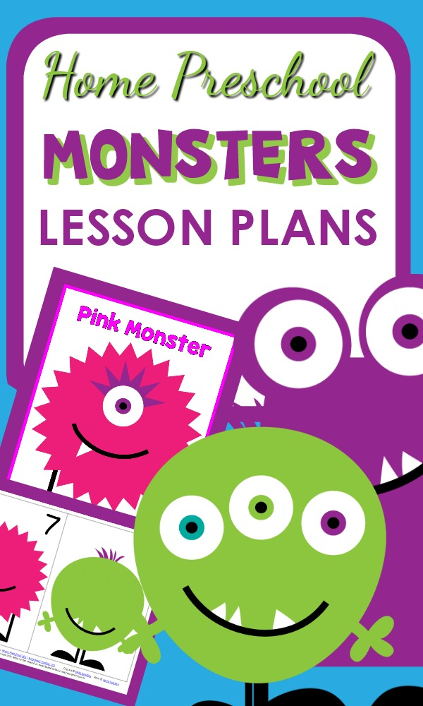 Home Preschool Monster Theme Activities with printables, lesson plans, and hands-on activity ideas
