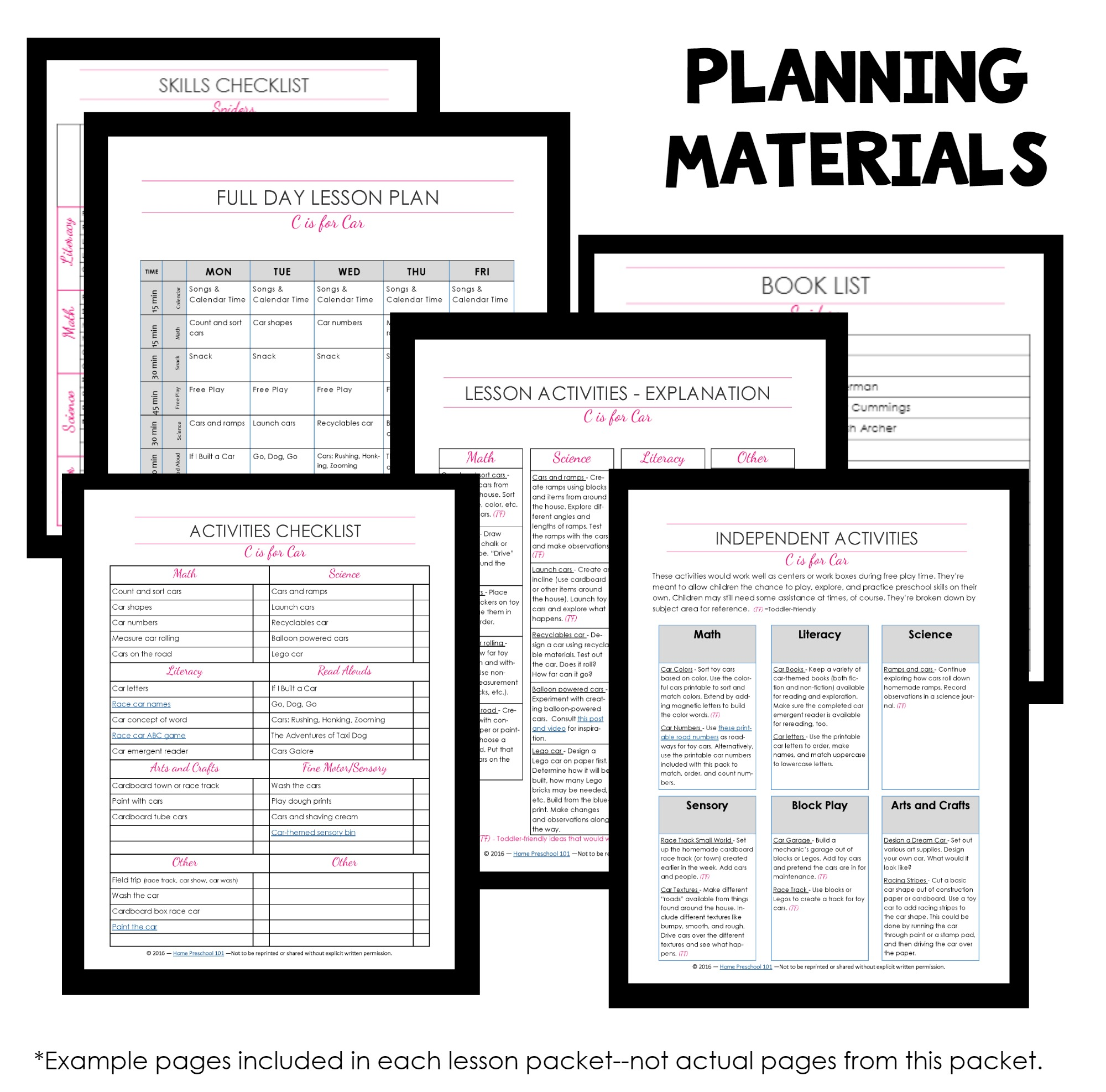 Lesson Plan Materials Snapshot Template