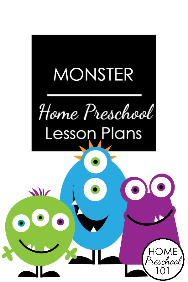 Monster Theme Home Preschool Lesson Plans-Printable lesson plans for a week full of hands-on learning inspired by not-so-scary monsters