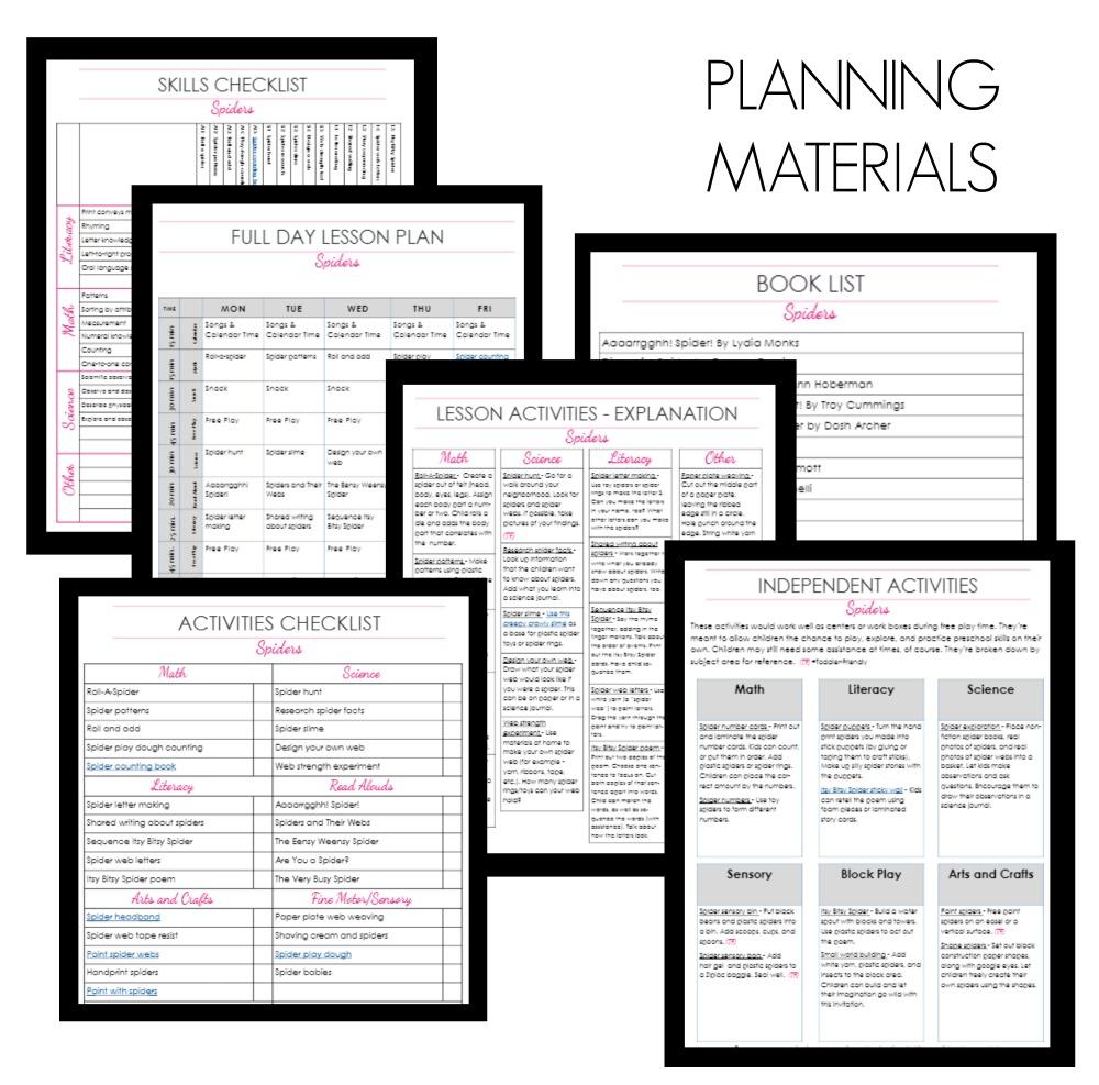 Spider Planning Materials