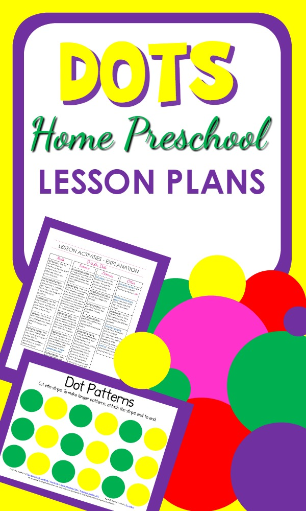 Dots Theme Printable Home Preschool Lesson Plans with a full week of hands-on learning activities