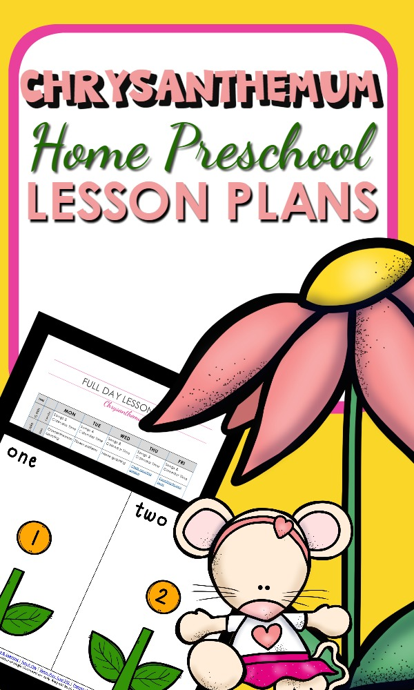 Home Preschool Lesson Plans based on the book Chrysanthemum by Kevin Henkes