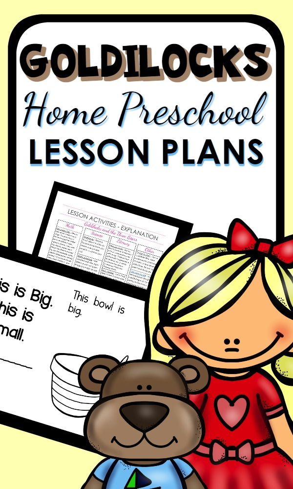Goldilocks and the Three Bears activities for home preschool. Hands-on activities for a week full of playful learning