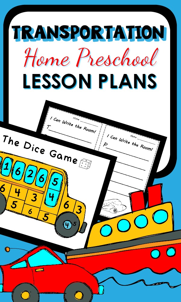 Transportation Activities for Home Preschool-Printable lesson plans with hands-on activities for a full week of playful learning about cars, trucks, trains, planes and more