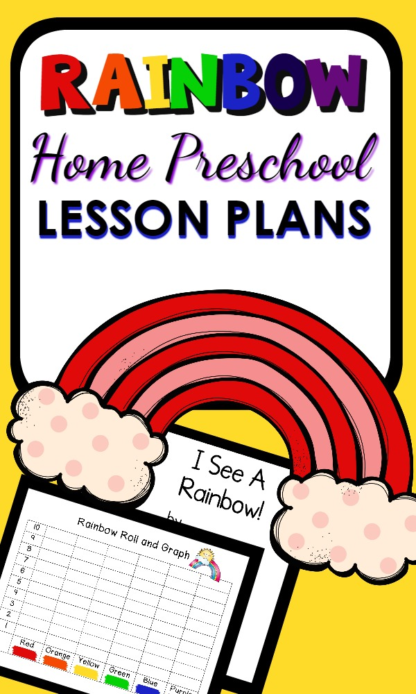 Rainbow Theme Home Preschool Lesson Plan-A full week of editable lesson plans with ideas for learning about colors, rainbows, and more. Perfect for St. Patrick's Day or Spring.