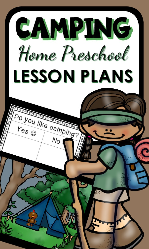Home Preschool Camping Theme Activities with printable lesson plans and hands-on play ideas