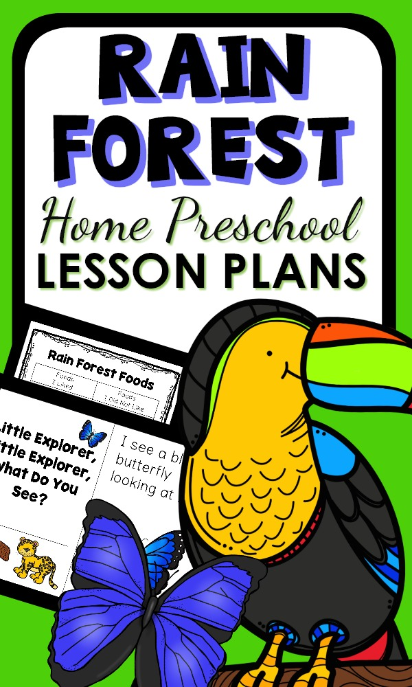 Rain Forest Theme Activities for Home Preschool. Includes printable lesson plans, learning activities and play ideas