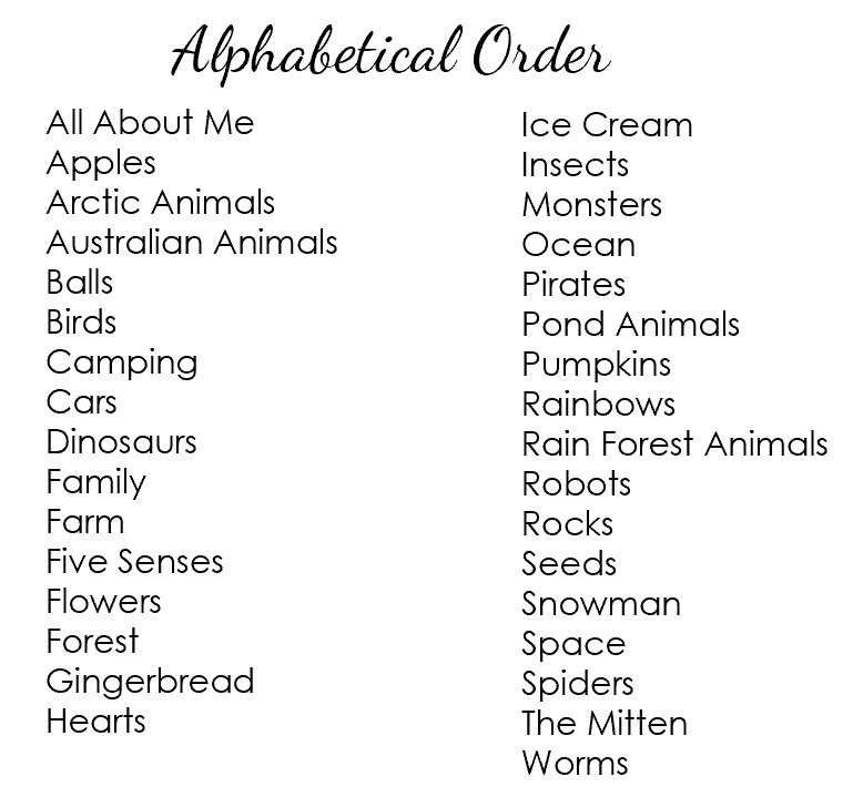 Alphabetical Order List of Hands-on at Home Preschool Year 1 Bundle Themes